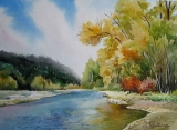 Olga Zakharova Art - Landscape - Fall and river